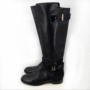 RACHEL Rachel Roy Delia Black Leather/ Suede Boots